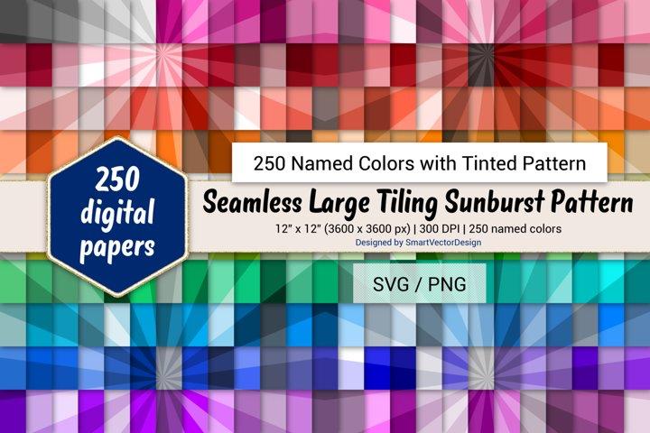Seamless Large Tiling Sunburst Paper - 250 Colors Tinted