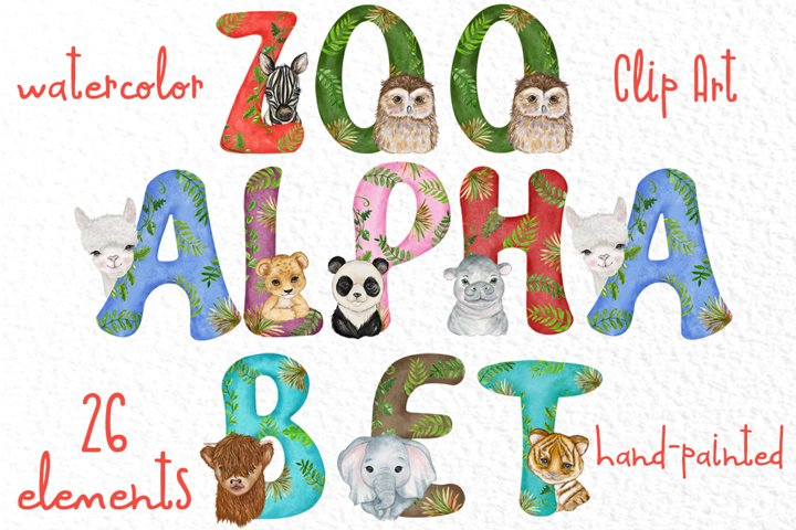 Watercolor animal alphabet clipart Jungel animal letters