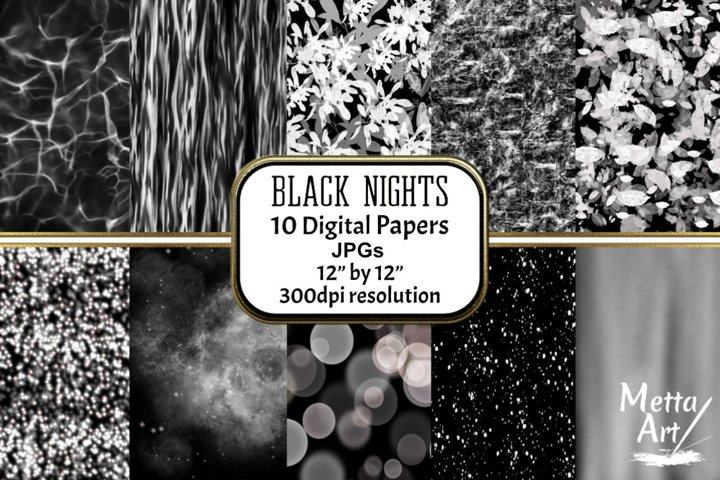 Black Nights - 10 Digital Papers/Backgrounds
