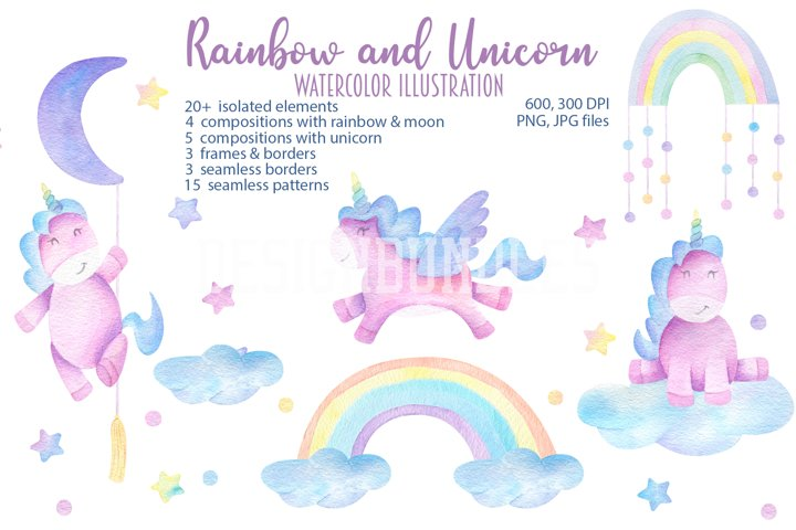 Watercolor unicorn and rainbow