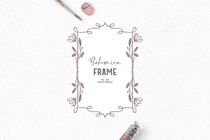 Hand-drawn flower frame clipart | Vintage pink label clipart