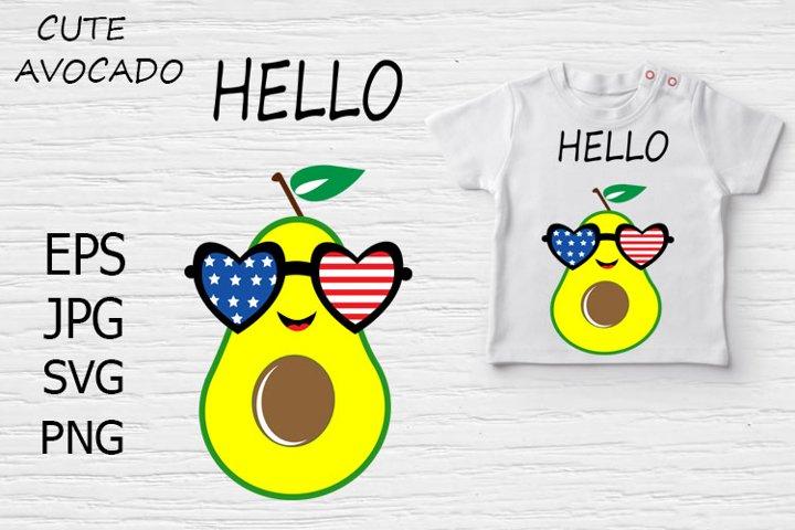 Cute Avocado with sunglasses.