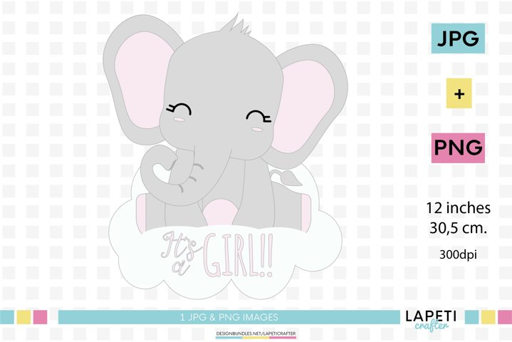 Its a girl elephant clip art, Girl Baby Shower Printable