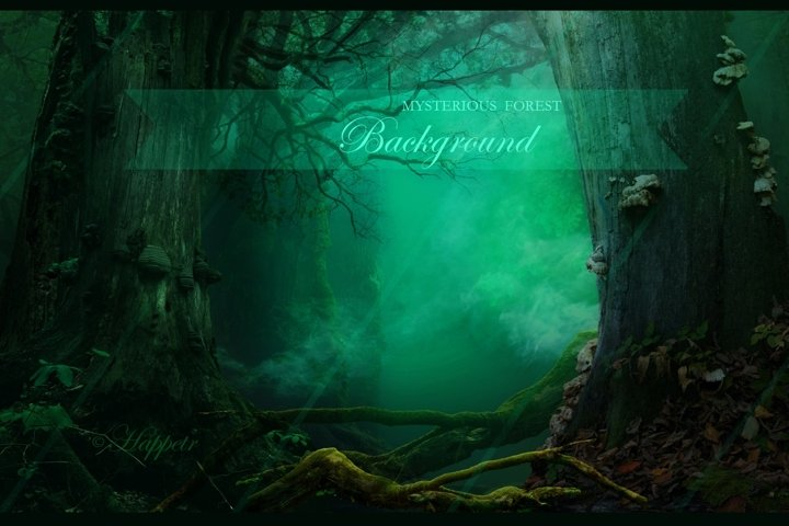 Mysterious fantasy forest background with magical smoke