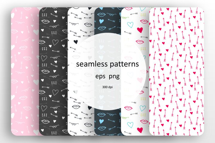 6 seamless patterns with romantic designs