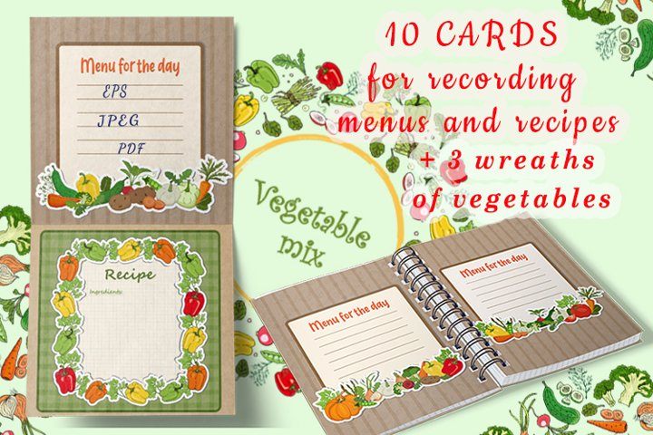 A set of cards with drawings of vegetables to write your men