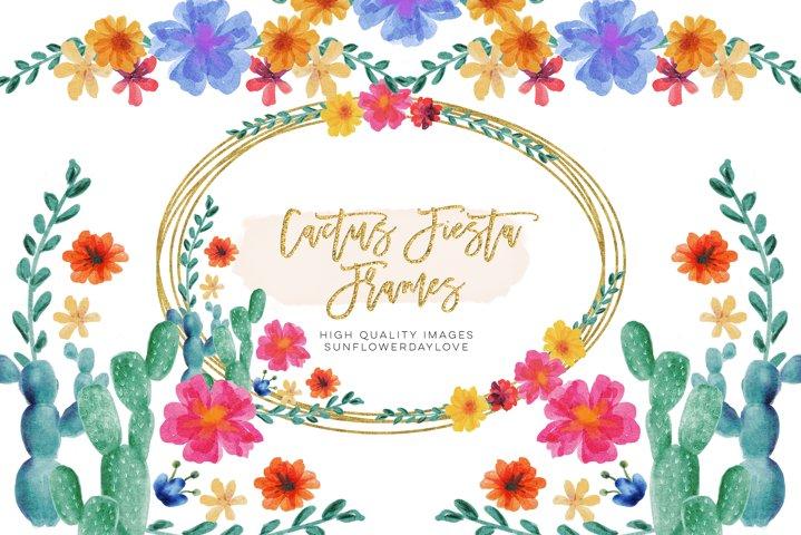 Floral Cactus mexican fiesta clip art
