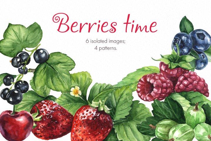 Berries time. Watercolor clip art