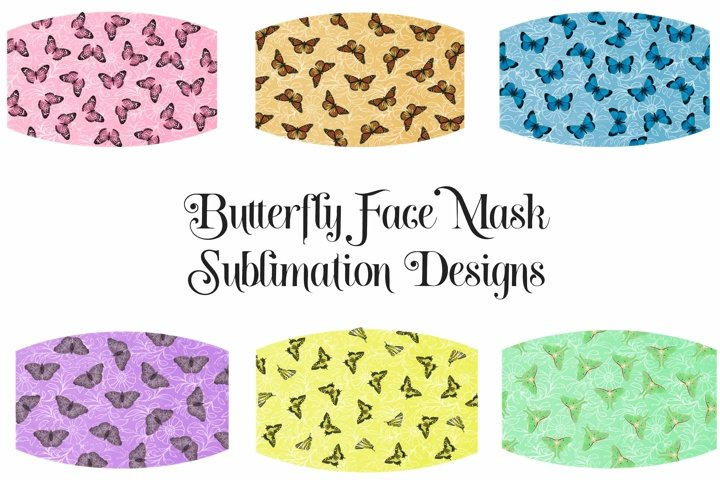 Face Mask Sublimation Designs Butterfly Pattern PNG Files