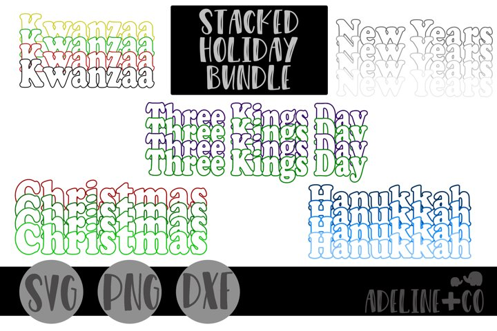Stacked Holiday bundle, SVG, PNG, DXF