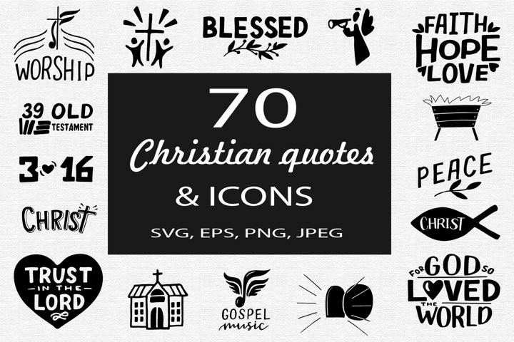 70 Christian quotes and icons