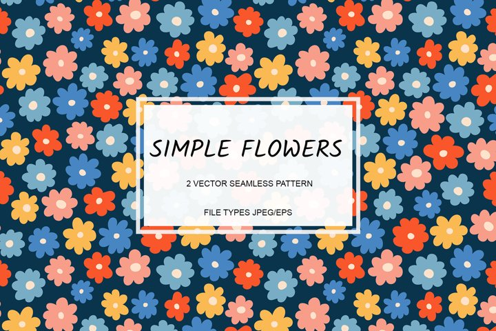 Vector seamless pattern with simple flowers. Eps/Jpeg