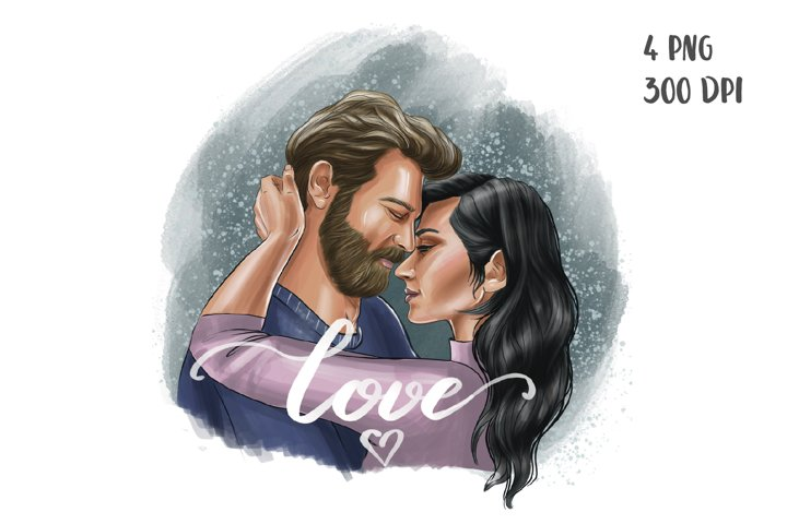 Couple in love clipart. Sublimation design png
