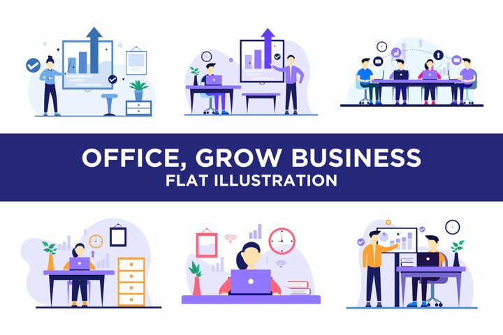 Office, Grow Business, Team Flat Concept