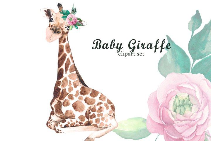 Watercolor baby giraffe clipart. Tropical baby animals