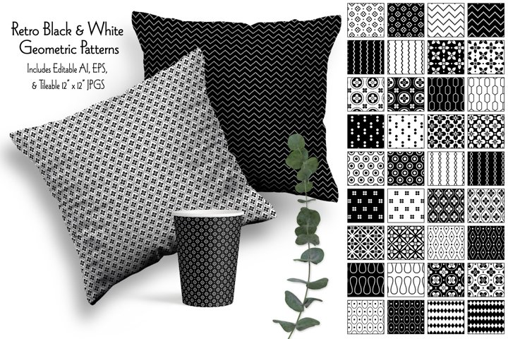 Retro Black & White Geometrics