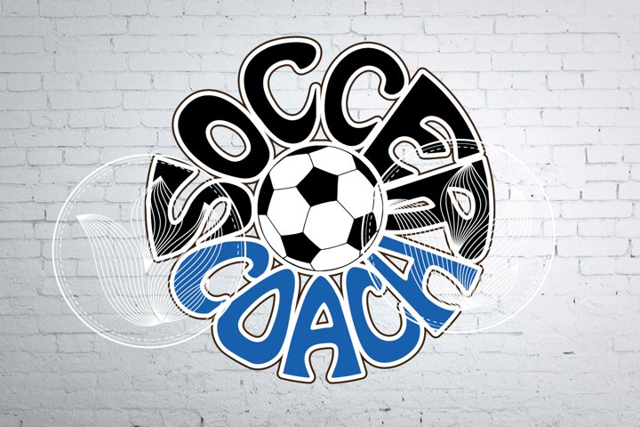 Digital Soccer coach Word with Soccer ball, png, eps, svg
