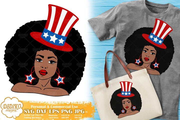 Black Woman 4th of July SVG |Afro Woman SVG | American Hat