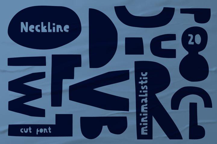 Decorative minimalistic cut out font