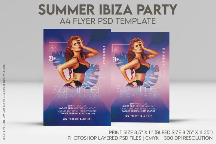 Summer Ibiza Party A4 Flyer PSD Template
