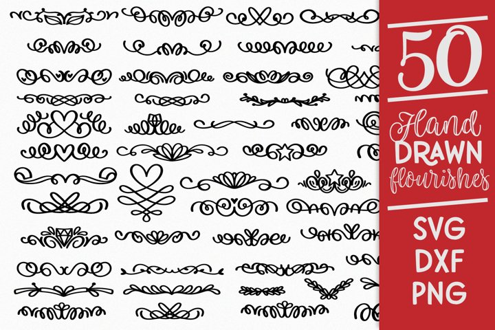 50 Clean Cut Friendly Hand Drawn Flourishes - SVG Cutting