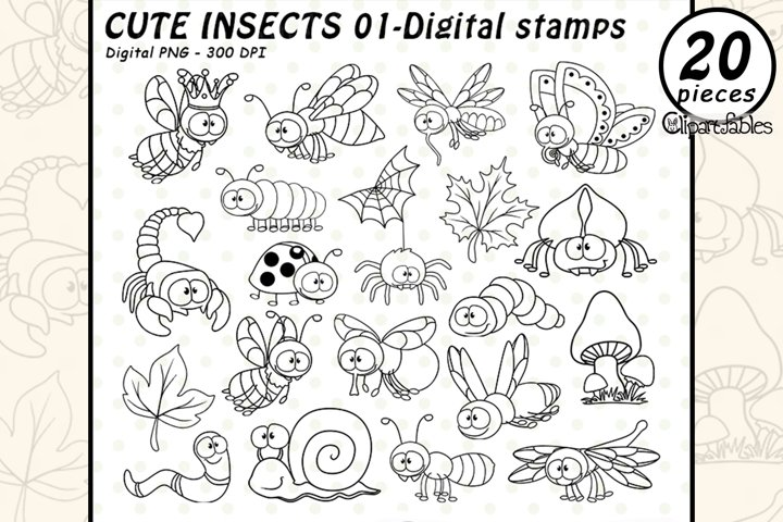 CUTE INSECTS - DIGITAL STAMPS, Bugs, Insect friends - Stamps