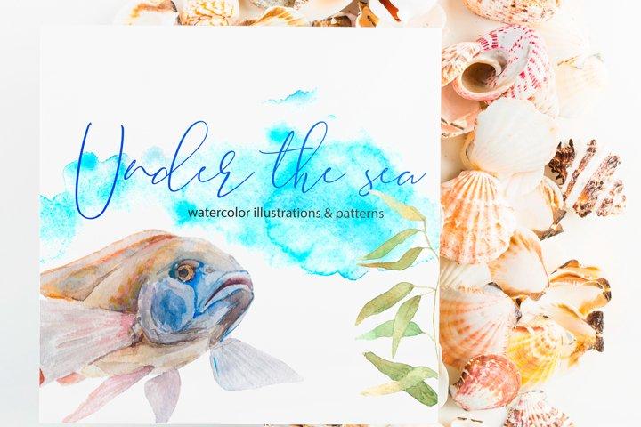 Under the sea. Watercolor art