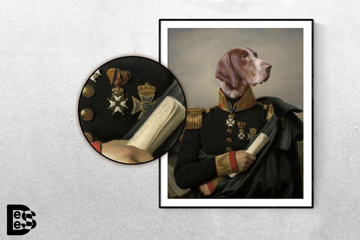 Man with DOG HEAD Historic Portrait. Printable Wall Art
