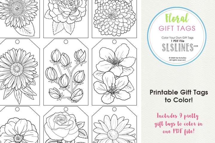 Flower Gift Tags to Color, Set of 9