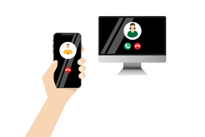 Illustration of a video call in realism gadgets