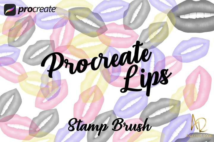Procreate Lips Brush Stamp | Black and white and Color