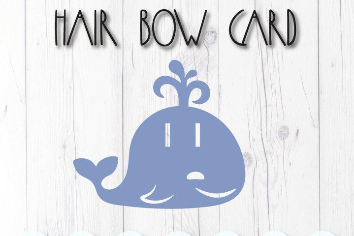 Whale display card for hair bow clip