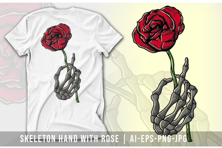 Sketelon Hand with Rose