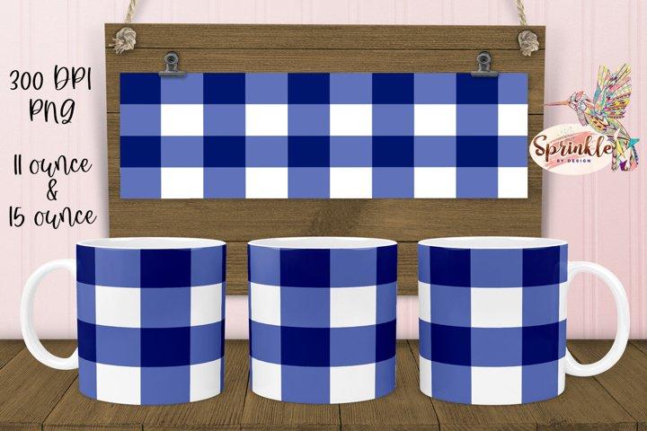 Blue Buffalo Plaid Mug Sublimation - Sublimation Mug Design
