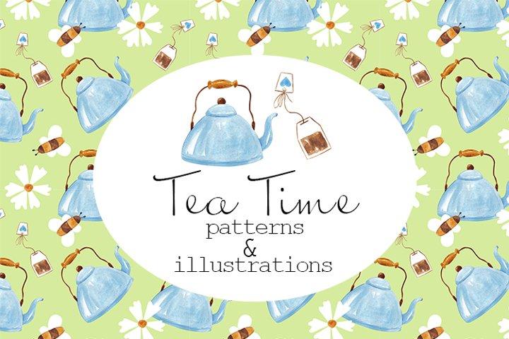 Watercolor Tea Time clipart, tea pot party
