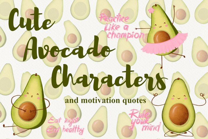 Avocado Characters Clipart