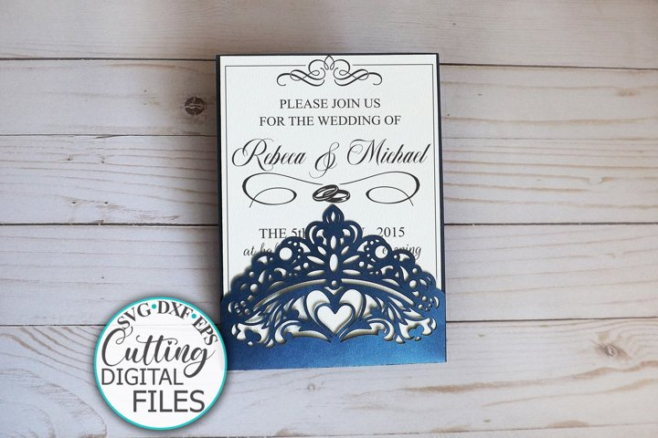 Princess crown pocket wedding invitation laser cut template