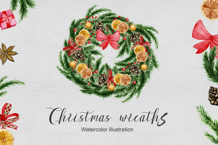 Watercolor festive set Christmas wreaths