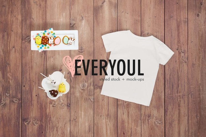 Spring Easter Kids Tshirt Styled Stock Mockup