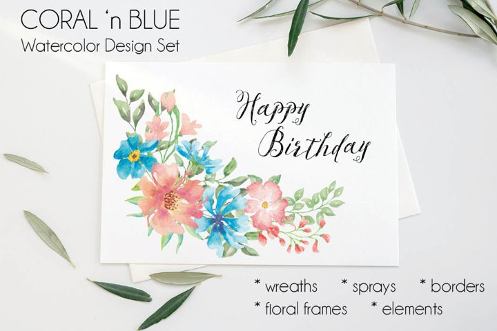 Coral and blue watercolor clip art