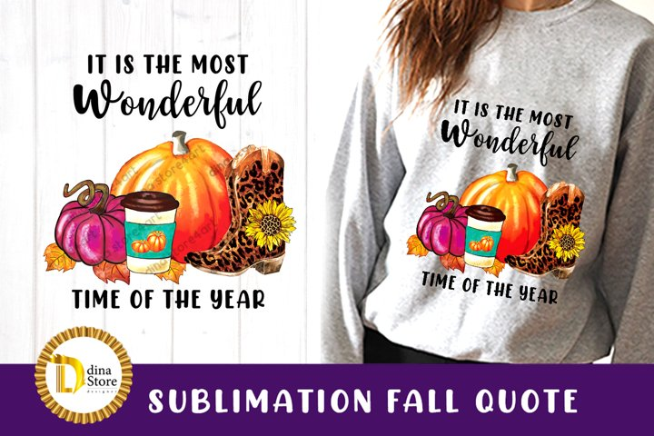 Sublimation Fall watercolor clipart with Quote