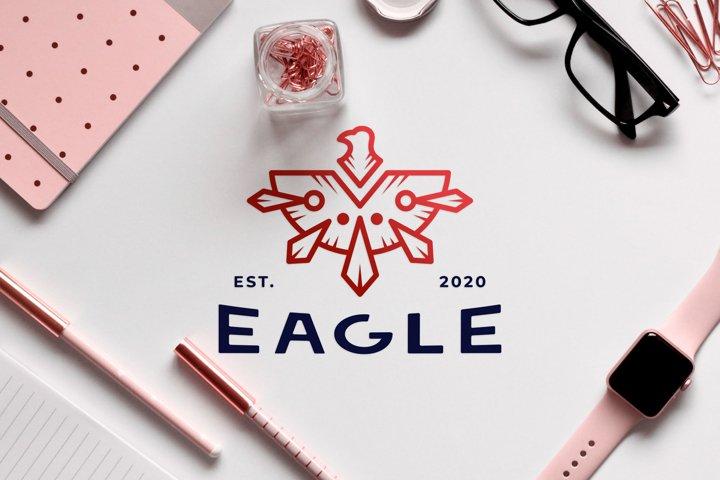 Animal logo design of dashing red eagle with shot