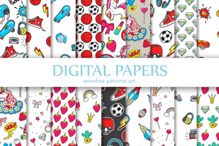 Digital Papers. Children Seamless Pattern with Patches