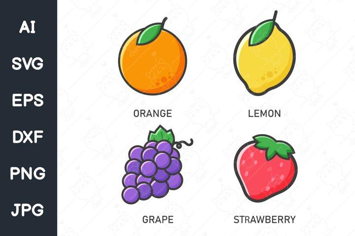 SVG oranges, lemons, grapes and strawberries
