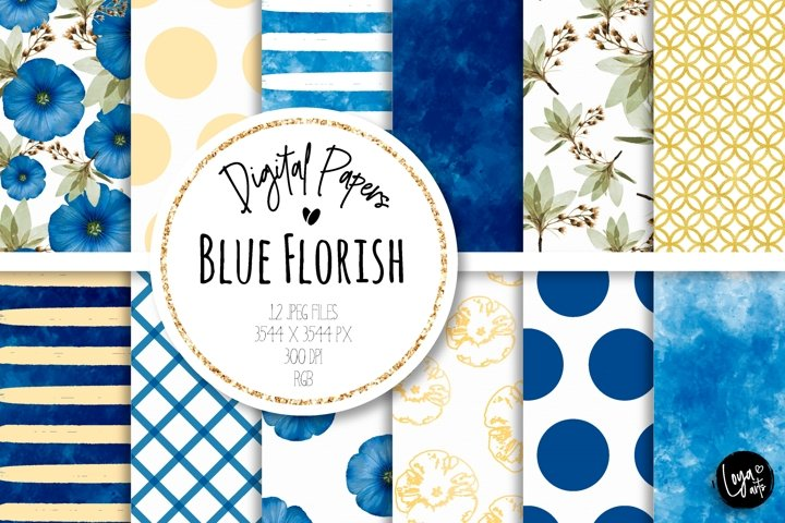 Blue Florish Digital Papers Set