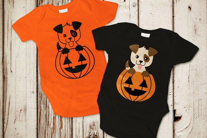 Halloween Pumpkin Dog SVG Design