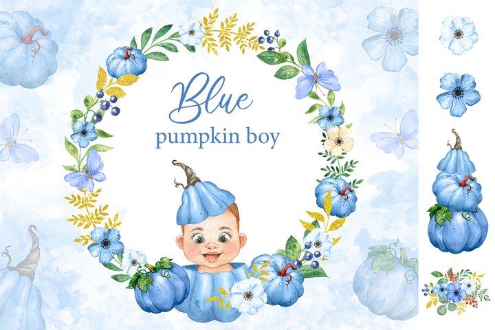 Blue pumpkin watercolor clipart. Little boy. Baby shower