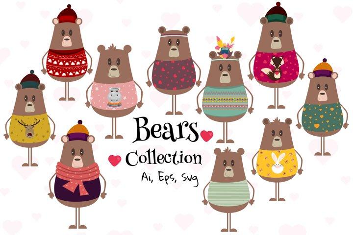 Cute bear vector graphic, Bear clipart, Bear svg collection