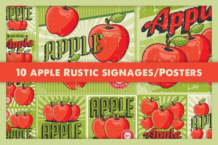 Apple Retro Signage Vintage Poster Vector