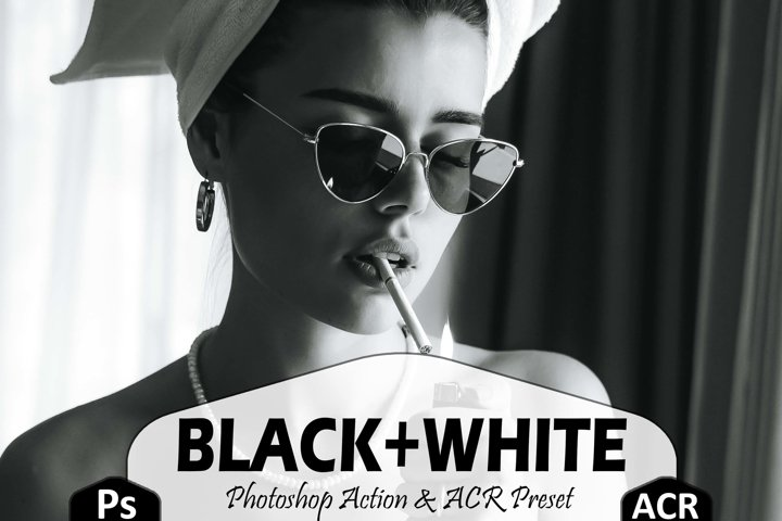 18 Black And White Photoshop Actions And ACR Presets, B&W Ps
